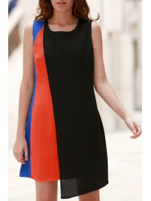 Hit Color Round Neck Sleeveless Chiffon Dress