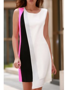 Color Block Round Neck Sleeveless Chiffon Dress