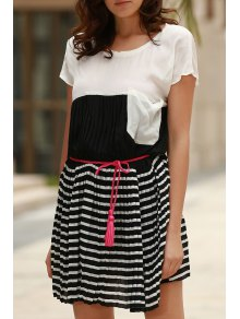 Striped Hit Color Round Neck Short Sleeve Dress