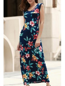 Scoop Neck Tropical Print Long Dress