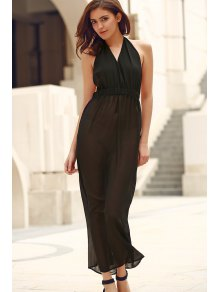 Black Backless Cut Out Halter Sleeveless Dress