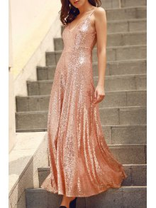 Backless Sequins Spaghetti Strap Maxi Dress - Pink