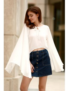 Lace-Up Cape Design Chiffon Crop Top