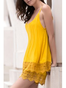 Lace Spliced Cami Wide Leg Playsuit - Yellow M