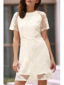 Openwork Lace Hook White Dress - White