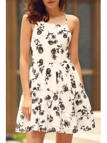 Floral Print Tiered Chiffon Swing Dress