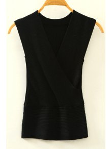Knitted V-Neck Crossed Tank Top