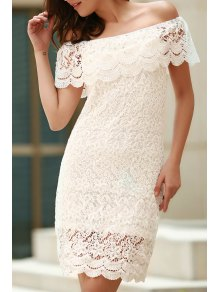 Off The Shoulder Flounce Ruffles Boat Neck Lace Dress - White