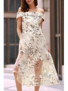 Off The Shoulder Floral Print Boat Neck Dress - White S