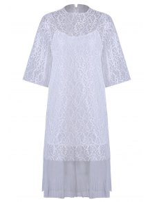 Openwork Lace Hook Dress + Camisole Dress Twinset