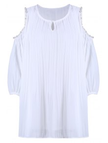 Beaded Cut-Out Chiffon Top - White