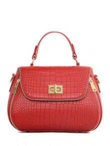 Zips Hasp Crocodile Print Tote Bag - Wine Red