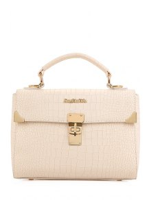 Metallic Letter Crocodile Print Tote Bag - Off-white