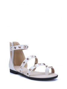 Rivet Flat Heel Toe Ring Sandals