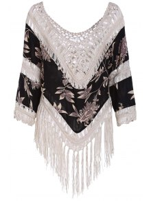 Tassels Spliced Hollow Out Printed T-Shirt