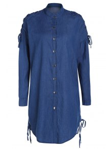 Denim Stand Collar Lace Up Shirt Coat - Blue M