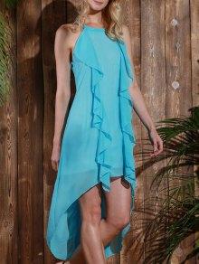 High Low Sleeveless Chiffon Dress - Light Blue M