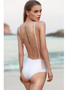 Backless Spaghetti Straps One Piece Swimwear - White