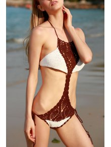 Lace Up Hit Color Crochet Halter One-Piece Swimwear - Apricot