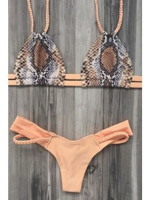 Printed Braided Spaghetti Straps Bikini Set - Nude