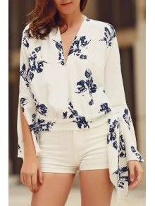 Abstract Print Plunging Neck Flare Sleeve Blouse