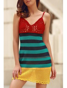 Crochet Cami Striped Cover Up - Stripe