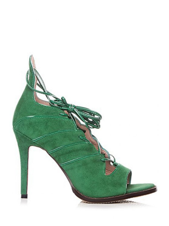 buy Lace-Up Solid Color Peep Toe Shoes - GREEN 39