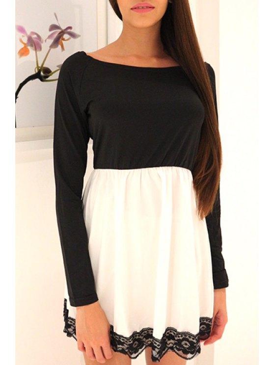 buy Lace Hem Long Sleeve Mini Dress - WHITE AND BLACK S