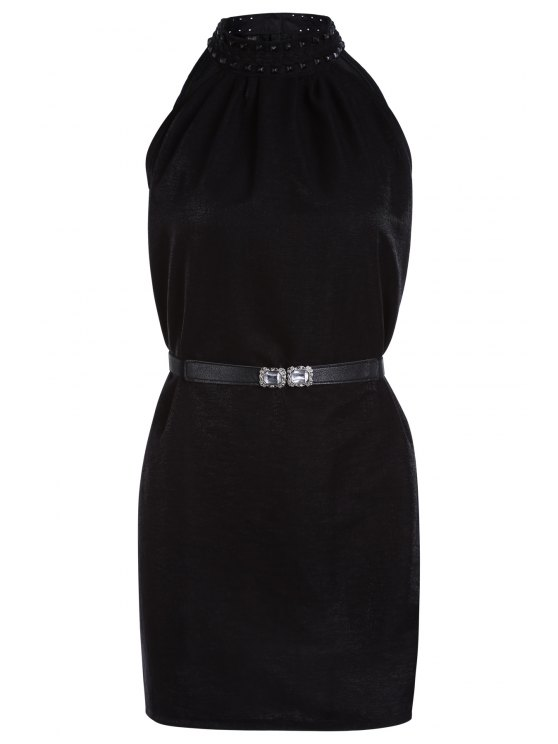 buy Solid Color Rivet Round Neck Sleeveless Dress - BLACK ONE SIZE(FIT SIZE XS TO M)