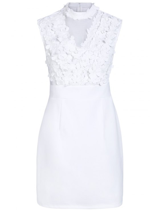 women Flower Patchwork Stand Collar Solid Color Dress - WHITE XL