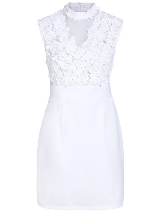 Flor del remiendo del collar del soporte del color sólido vestido - Blanco XL