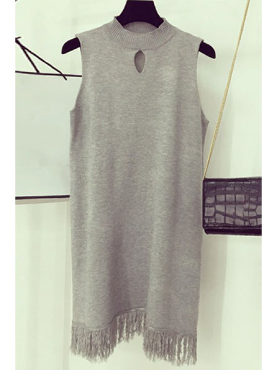 shops Fringe Hollow Out Round Neck Sleeveless Dress - LIGHT GRAY ONE SIZE(FIT SIZE XS TO M)