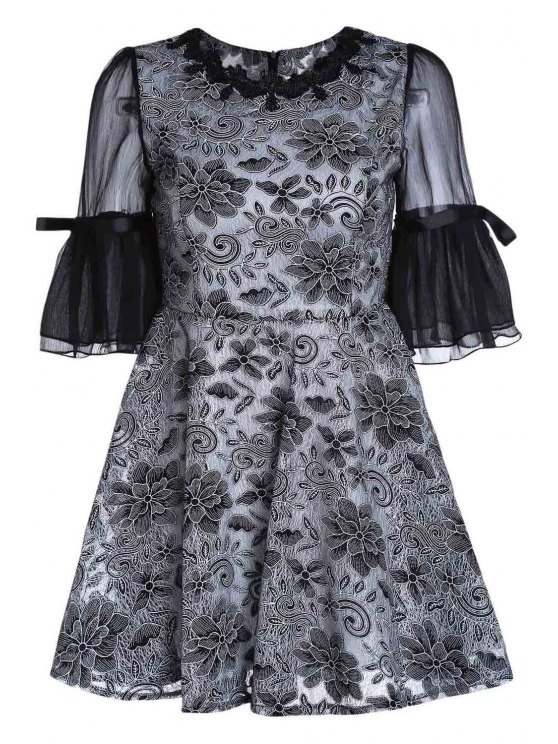 outfits Embroidery Round Collar Puff Sleeves Dress - BLACK XL