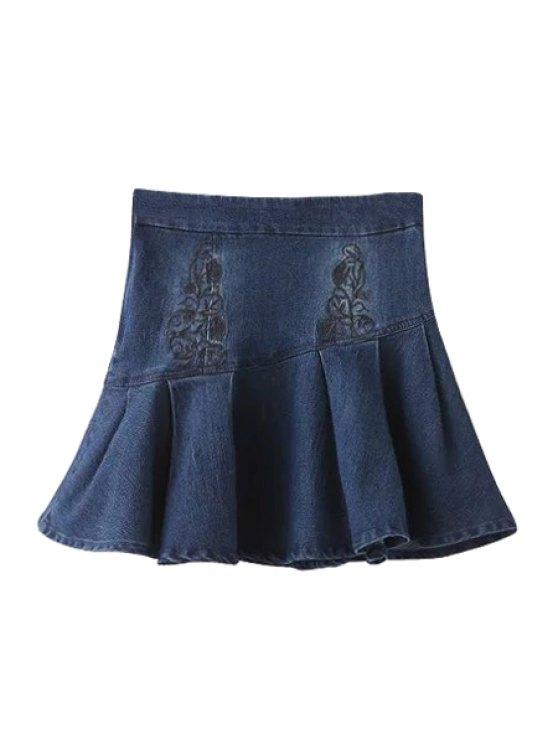 outfits Embroidery High Waist Denim A Line Skirt - DEEP BLUE S
