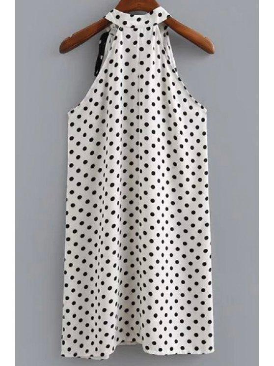 Polka Dot Print Round Neck Sleeveless Dress - WHITE AND BLACK M Mobile