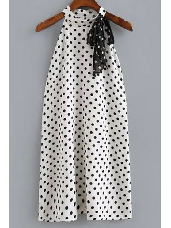 Polka Dot Print Round Neck Sleeveless Dress - WHITE AND BLACK L Mobile