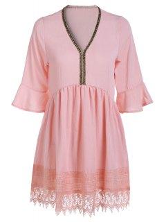 Lace Spliced V Neck Lantern Sleeve Blouse - Pink