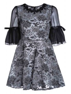 Embroidery Round Collar Puff Sleeves Dress - Black Xl