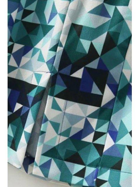 sale 3/4 Sleeve Diamond Print Dress - BLUE S Mobile