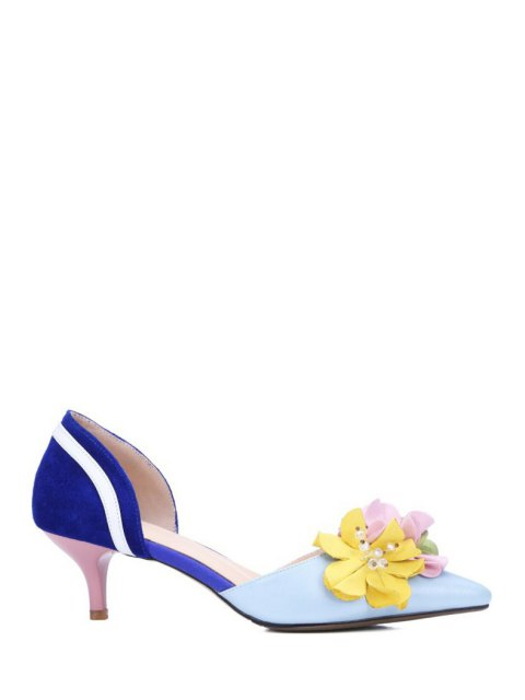 chic Flower Color Block Two-Piece Pumps - BLUE 36 Mobile