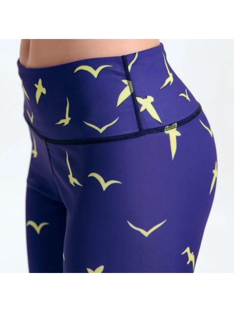 shops Multicolored Printed Tight Fit Ankle Leggings - PURPLISH BLUE L Mobile
