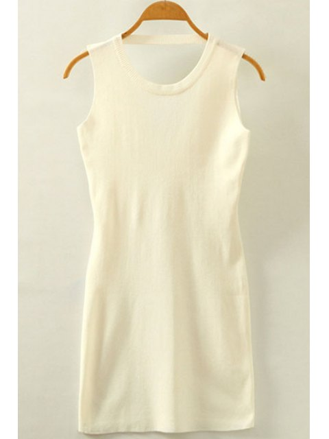 ladies Packet Buttock Hollow Out Round Neck Sleeveless Dress - WHITE ONE SIZE(FIT SIZE XS TO M) Mobile