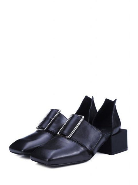 fancy Square Toe Buckle Chunky Heel Pumps - BLACK 39 Mobile