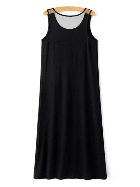 trendy Letter Print Scoop Neck Sundress - BLACK M Mobile