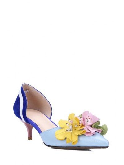 Flower Color Block Two-Piece Pumps - BLUE 35 Mobile