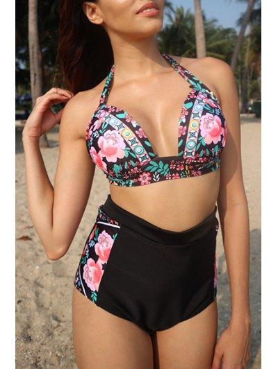 High Waisted Floral Print Bikini - Black