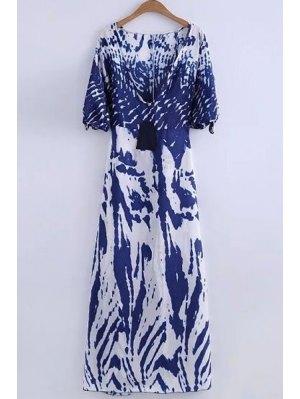 Deep V Neck Printed Long Dress - White