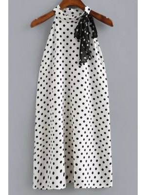 Polka Dot Print Round Neck Sleeveless Dress - White And Black