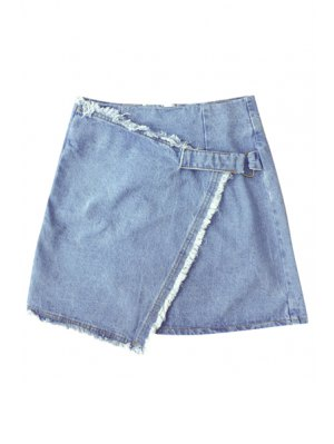 Solid Color Irregular Hem High Waist Denim Skirt - Light Blue