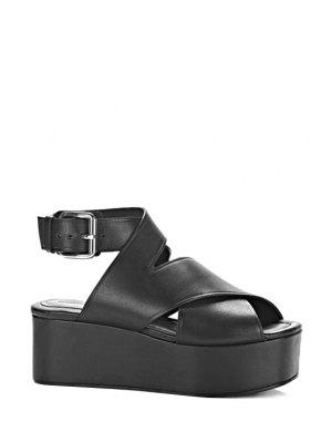 Solid Color Cross-Strap Platform Sandals - Black
